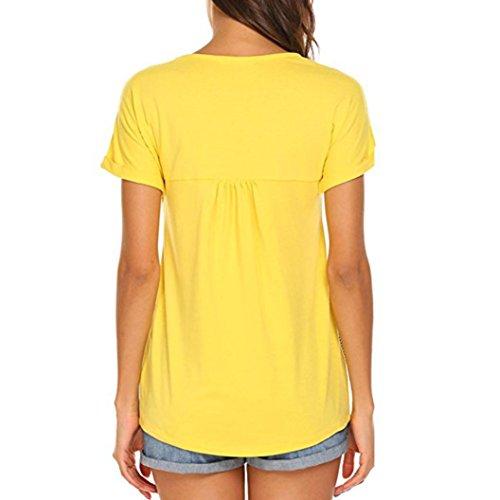 ... MCYs Damen Streifen Splice Kreuz Bandage T-Shirt Kurzarm Casual Tops  Bluse Oberteil Loose T ... f05d6f73b4