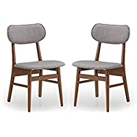 Baxton Studio Set of 2 Sacramento Mid-Century Dark Walnut Wood and Grey Faux Leather Dining Chairs