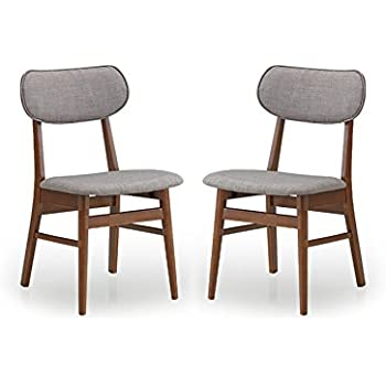 Baxton Studio Set of 2 Sacramento Mid-Century Dark Walnut Wood and Grey Faux Leather Dining Chairs