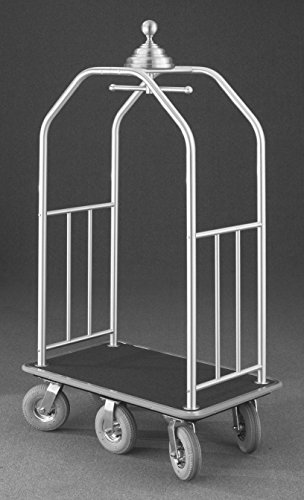 (Glaro 7660 Premium Bellman Cart with Satin Brass finish, Black carpet color, and Gray bumper. Includes Solid Rubber Gray tires. Includes Side Rails.)
