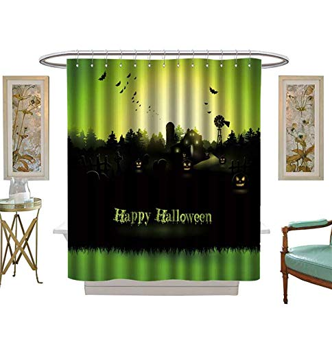 Shower Curtains Digital Printing Haunted Farmhouse in The Woods Halloween Greeting Card Fabric Bathroom Set with Hooks Size:W48 x L72 inch]()