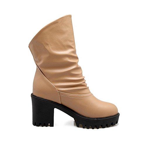 VogueZone009 Damen Hoch-Spitze Rein Hoher Absatz PU Leder Rund Zehe Stiefel, Aprikosen Farbe, 35