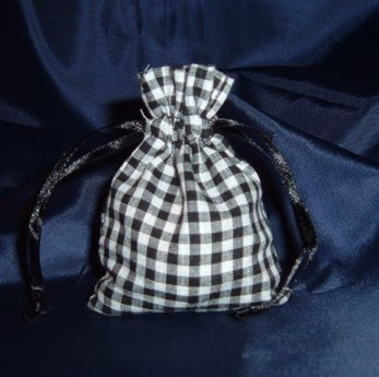 3x4 Cotton Gingham Wedding Favor Gift Bags/Pouches - Black (10 ()