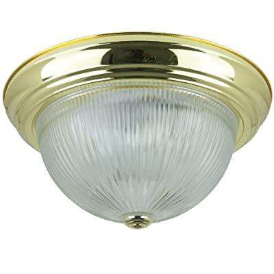 Sunlite Energy Saving Dome Ceiling Fixture, Polished Brass Finish with Clear Glass