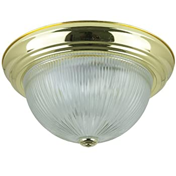 Sunlite DBS13/CL 13-Inch Dome Ceiling Fixture, Polished Brass Finish with Clear Glass