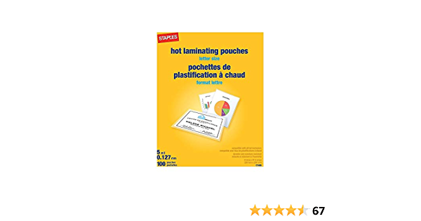 Amazon Com Staples 489526 5 Mil Thermal Laminating Pouches Letter Size 100 Pack Office Products
