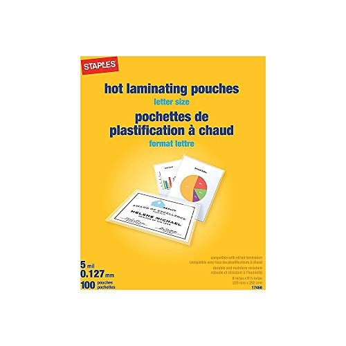 (Staples 489526 5 Mil Thermal Laminating Pouches Letter Size 100 Pack)