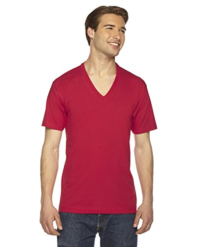 American Apparel Unisex Fine Jersey Short-Sleeve V-Neck (2456) - Red - XX-Small