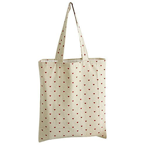 Caixia Women's Red Heart Canvas Tote Shopping Bag Beige (Heart Canvas Bag)