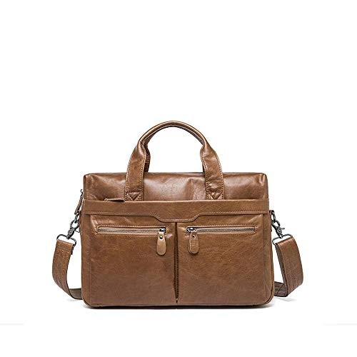 Color : D Xinyuan Mens Leather Tote Shoulder Briefcase Mens Business Bag Casual Shoulder Bag Travel Business Learn Black Coffee Yellow Brown Gray