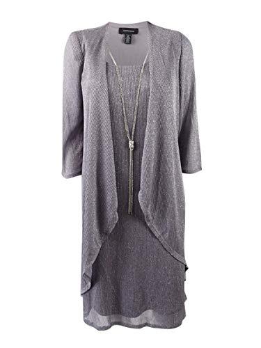 R&M Richards Women's Plus Size Shift Dress and Draped Jacket (18W, Silver)