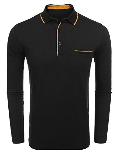 Burlady Langarmshirt Tshirt mit Knopf Basic Longsleeve Shirt mit Henley Ausschnitt Herren 2 in 1 Sport Langarm Shirts Freizeit Männer (M, 76-Schwarz)