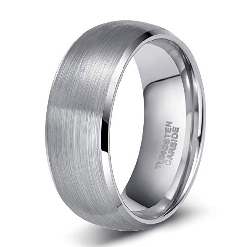 Shuremaster 8mm Tungsten Carbide Ring for Men Brush Dome Classic Wedding Band Comfort Fit Size 10
