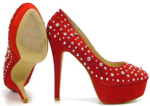Schuh-City High Fashion Damen Schuhe Pumps mit Stachel Nieten Sky Heels Rot