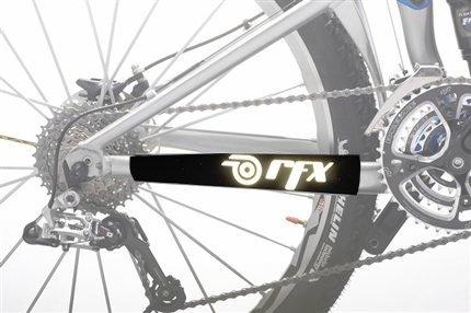 RFX, Protector de Cuadro REFLEJANTE, Bicicleta, MTB Skin, Cubre Cadena, Negro, Grande