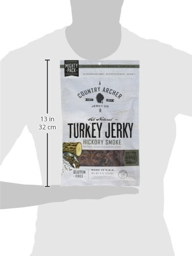Country Archer Gluten/Antibiotic Free Turkey Jerky, Hickory Smoke, 8 Ounce