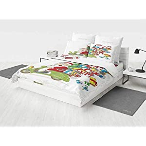Christmas Bedding Set King Santa on Motorbike Scooter with Tree and Gifts Funny Cartoon for Kids Bird Printing Four Pieces of Bedding Set White Green Red