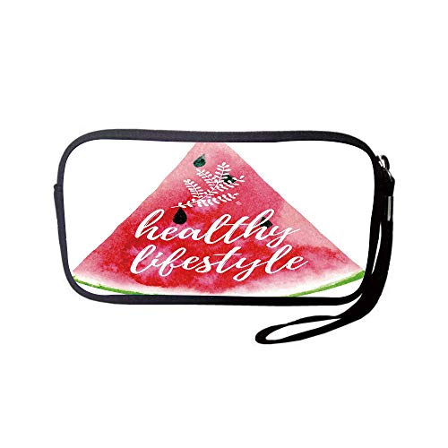iPrint Neoprene Wristlet Wallet Bag,Coin Pouch,Fitness,Healthy Lifestyle Themed Quote on Vivid Hand Drawn Watermelon Figure with Herbs Decorative,Multicolor,for Women and Kids