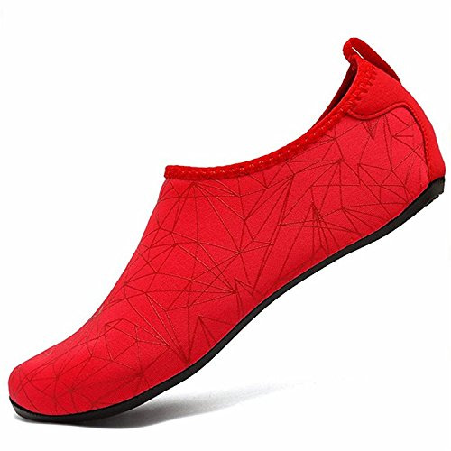 LeKuni Women's Men's Barefoot Water Shoes Quick Drying Aqua Shoes for Swimming Pool Beach Yoga Gym Sports Xzx_red