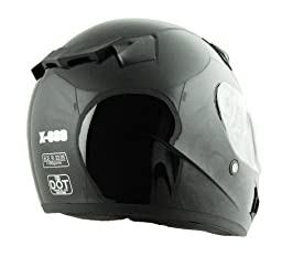Vega X888 Full Face Helmet (Gloss Black, Large)