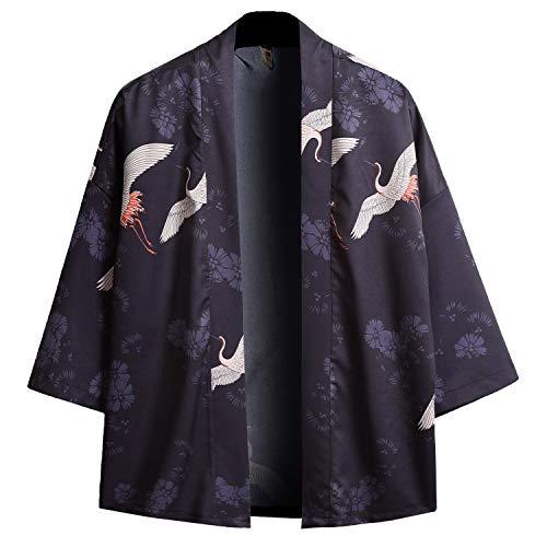 PRIJOUHE Men's Kimono Cardigan Jacket Japanese Style Flying Crane Seven Sleeves Open Front Coat Navy (Kimono Japanese Wear)