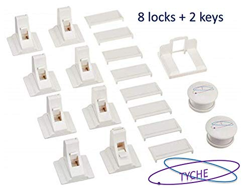 Magnetic Cabinet Locks, Cabinet Locks Child Safety (8 locks 2 keys) – Adhesive Invisible Child Proof Safety Locks