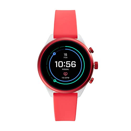 Fossil Women's Gen 4 Sport Heart Rate Metal and Silicone Touchscreen Smartwatch, Color: Coral Red (FTW6027)