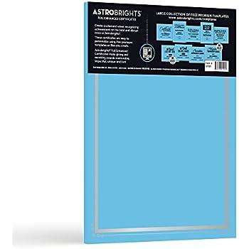 """Astrobrights Foil Enhanced Certificates, 8.5""""x11"""", 65lb/176 gsm, Lunar Blue, Frame Design, Cardstock, 25ct (91101)"""