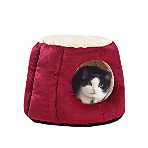 Oncpcare Kitty Cat House Small Animals House Soft Warm Rabbit Hut Frustum-Shape Guinea Pig Bed Hideout with Removable…