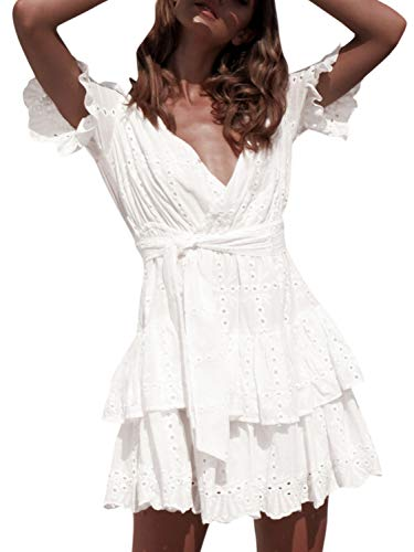 Conmoto Women's Short Sleeve Lace Ruffle Mini Dress Hollow Out Summer Wrap Dress White 3 8