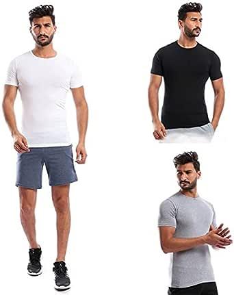 Set Of 3 Round Neck T-Shirts - White - Black - Navy