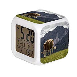 Aekdie LED Alarm Colock 7 Colors Changing Digital Desk Gadget Digital Alarm Thermometer Night Glowing Cube led Clock Home Children's White and Brown Cow Nearby Mountains