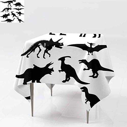 (Jbgzzm Dinosaur Waterproof Tablecloth Prehistoric Skeleton Bone Black Silhouettes of Different Ancient Wild Dinosaurs and Durable W63 xL63 Black White)