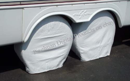 ALEKO Weather-Resistant Triple Axle RV//Car Tire Cover Up to 29 Inches White