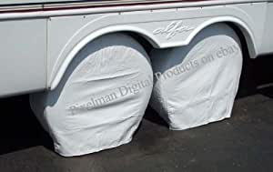 "PAIR Storage Vinyl Tire Covers 36"" - 39"" Diameter Tires Polar White for RV, Trailers, Camper Fits most tires on a 19.5"" Rim or smaller 22.5"" rimmed tires"