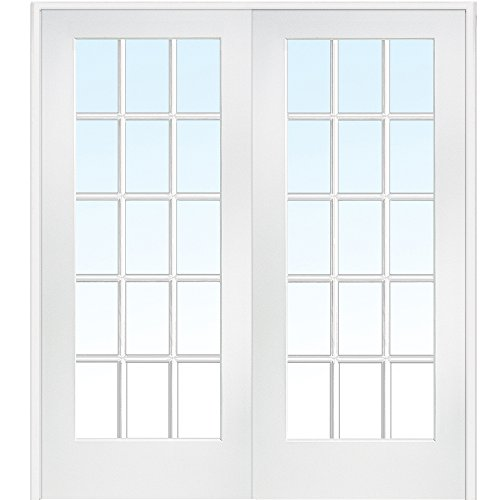 National Door Company Z009322BA Primed MDF 15 Lite Clear Glass, Prehung Interior  Double Door,
