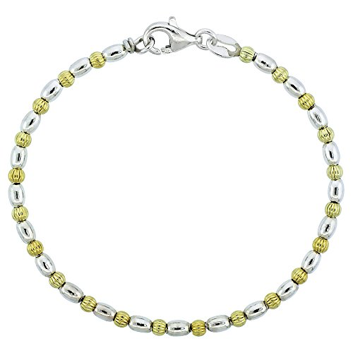 Sterling Silver 8 in. Corrugated & Oval Bead Bracelet w/ Gold Finish (Also Available in 7 in.), 1/8 in. (3mm) wide