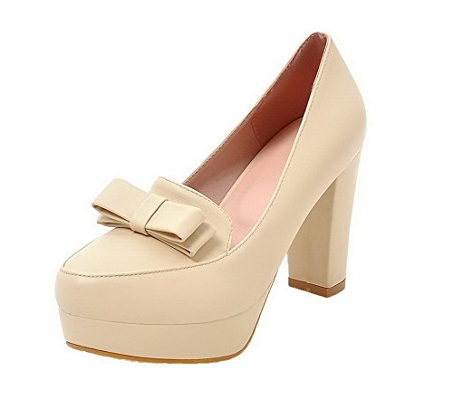 AgooLar Damen Rein Hoher Absatz Rund Zehe PU Ziehen auf Stiefel, Cremefarben, 38