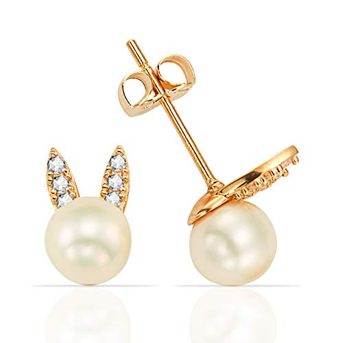 Single 5.0mm Freshwater Pearl with CZ Bunny Ears in 14K Yellow Gold ()