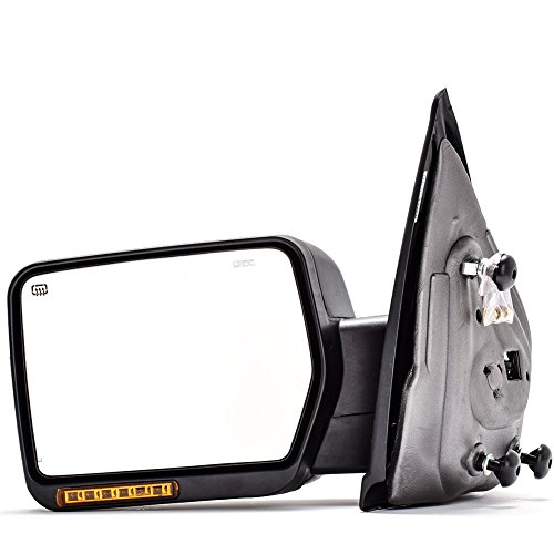 DEDC Left Driver Side Power Heated,Turn Signal Lights,Back Reflector,Towing Mirrors for 2007-2014 Ford F150 Series