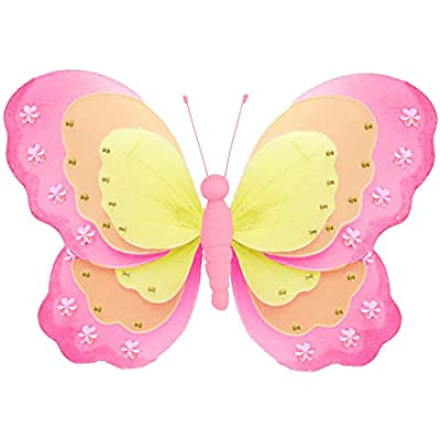 "Hanging Butterfly Medium 10"" Dark Pink Orange Yellow Triple Layered Nylon Mesh Butterflies Decorations Decorate Baby Nursery Bedroom Girls Room Ceiling Wall Decor Wedding Birthday Party Shower Home: Kitchen & Dining"