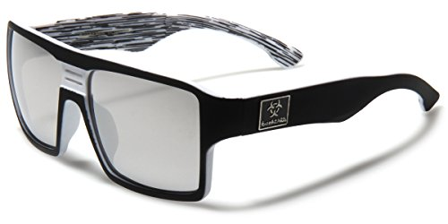 Square Retro Sport Shades with Color Mirror Lens - Multiple - Designer Sunglasses Sale On