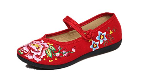 Mary Jane Pear (Tianrui Crown Pear Flower Embroidered Mary Jane Flat Shoes Sandals Cheongsam Shoes)