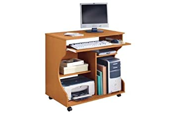 Pine Effect Curved Computer Desk Trolley Amazoncouk Kitchen Home