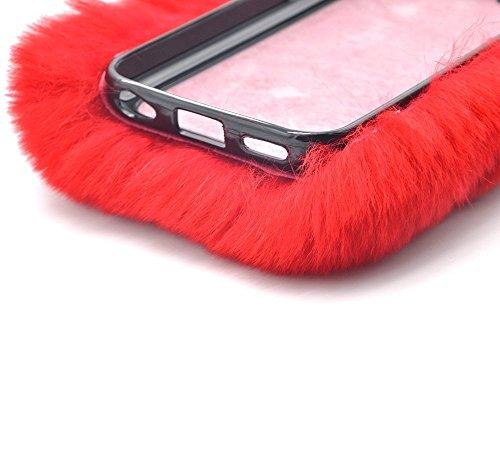 Anti-arañazos Carcasa para Samsung Galaxy Note 5, Bonice Carcasa Funda para Samsung Galaxy Note 5, Suave Cover Carcasa Case Bumpar Artificial Rex Conejo Pelaje Funda Carcasa de Gel TPU Silicona Flexib A-rojo