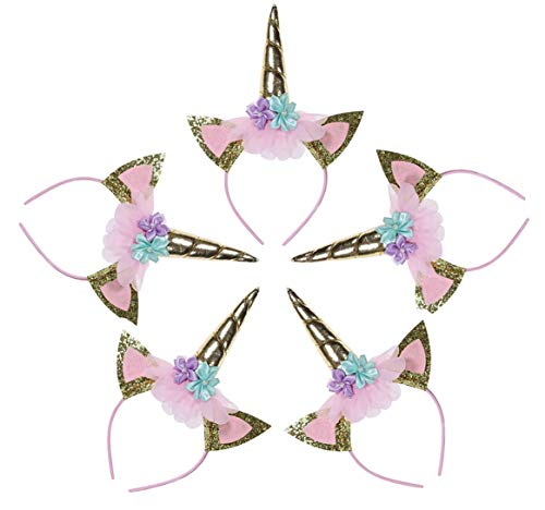 Unicorn Horn Headband Party Supplies Photo Props Headwear Accessory for Birthday Halloween Christmas Party Decoration Cosplay Costume, Pack of 5 ()