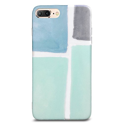 J.west iPhone 8 Plus Case, iPhone 7 Plus Case, Pattern Printed Bumper Slim TPU Soft Rubber Silicone Cover Anti-Scratch Thin Back Protective Phone Case Cover for iPhone 7 Plus/8 Plus (Mint Green Grey)