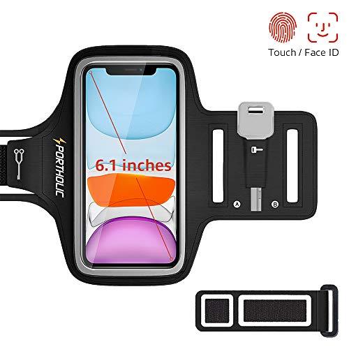 """Sportarmband Handy, PORTHOLIC Schweißfest Sport Armband für iPhone 11 Pro XS X 8 7, Verlängerungsband,Schlüsselhalter,Kartensteckplatz,Kopfhörerloch, für Handy Bis zu 6.1"""",für Joggen Radfahren Wandern"""