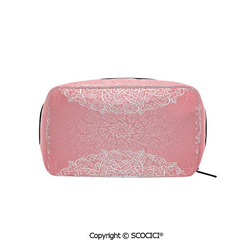 (Travel Cosmetic Bag Portable Makeup Pouch Doily Inspired Cute Lace Style Round Motifs with Ornate Intricate Hearts Decorative makeup clutch for Girls Ladies Women)