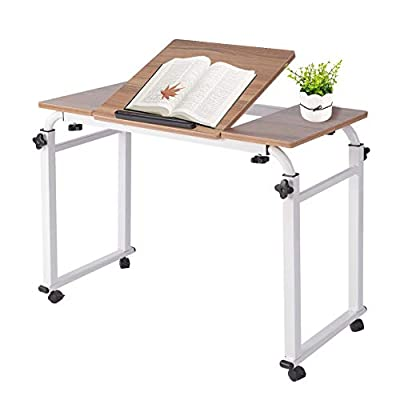 Overbed Table with Wheels, Height Adjustable Laptop Cart Mobile Computer Desk Sofa Table with Heavy Duty Metal Legs for Home Office and Hospital, 0.8m/31.5inch Table Leg